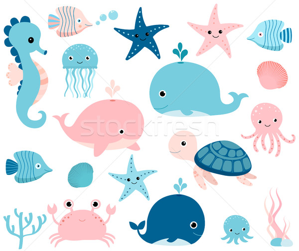 Cute ocean set with sea creatures for girls and boys summer designs Stock photo © Pravokrugulnik