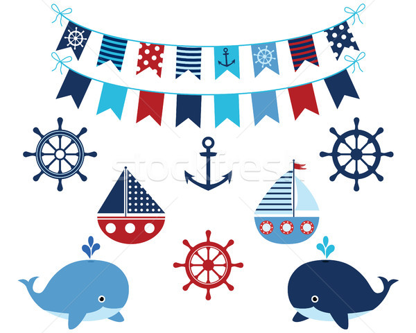 Nautical navy blue and red collection of whales, boats, buntings, anchor, wheels. Marine and ocean t Stock photo © Pravokrugulnik