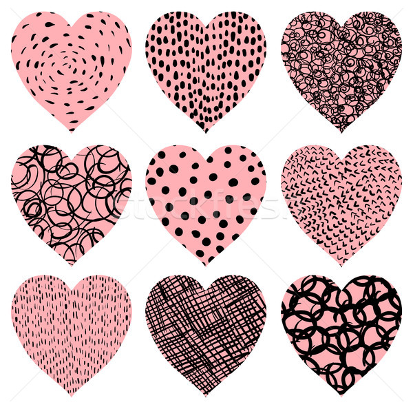 Cute pink vector hearts with texture for Valentine's day  Stock photo © Pravokrugulnik