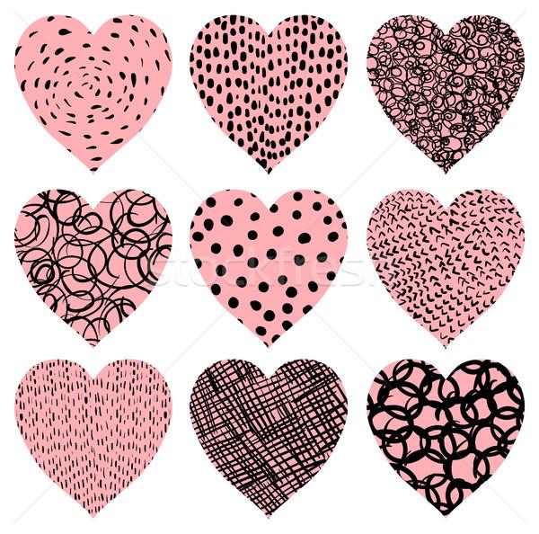 Cute rosa vector corazones textura día de san valentín Foto stock © Pravokrugulnik