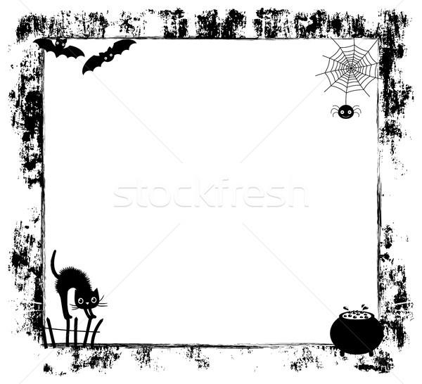 Bonitinho vetor cópia espaço preto desenho animado silhuetas Foto stock © Pravokrugulnik