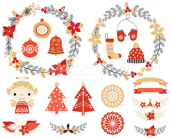 Stock photo: Christmas set with design elements in red, gold and black colors