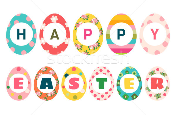 Színes húsvéti tojások szöveg kellemes húsvétot üdvözlet kártyák Stock fotó © Pravokrugulnik
