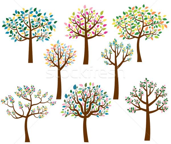 Vector ingesteld cartoon bomen kleurrijk bladeren Stockfoto © Pravokrugulnik