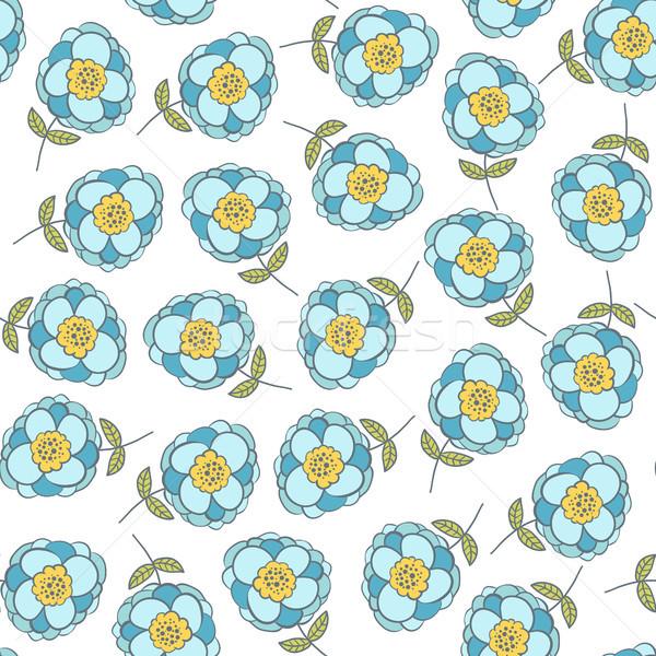 Seamless flower pattern with cute blue flowers for summer  Stock photo © Pravokrugulnik