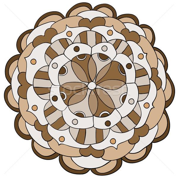 Wektora kwiat mandala ozdoba brązowy Zdjęcia stock © Pravokrugulnik