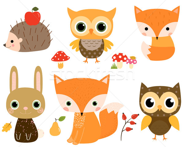 Cute vector set with woodland animals in flat style Stock photo © Pravokrugulnik
