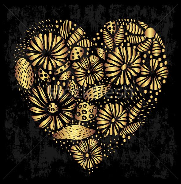 Elegante oro cuore design floreale Foto d'archivio © Pravokrugulnik