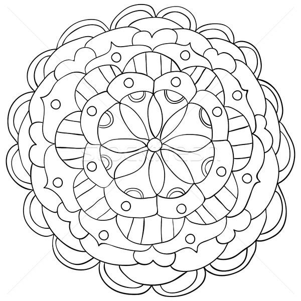 Vektor kézzel rajzolt firka virágmintás mandala dísz Stock fotó © Pravokrugulnik