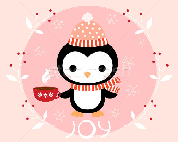 Cute winter penguin with hat and scarf and cup of coffee. Christmas greeting card Stock photo © Pravokrugulnik