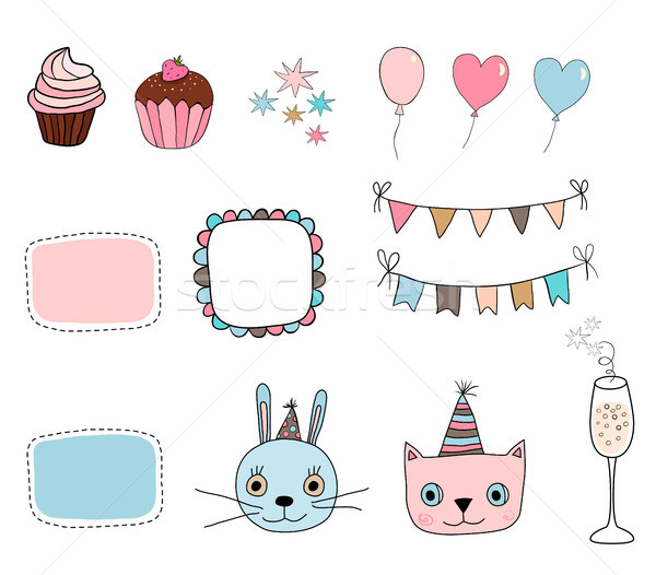 Cute set with kitty, bunny, party and birthday design elements Stock photo © Pravokrugulnik