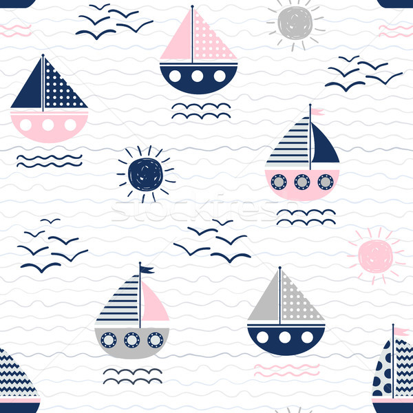 Nautical vector seamless pattern with boats, waves and suns Stock photo © Pravokrugulnik