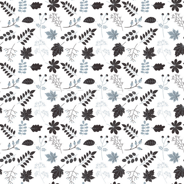 Botanical monochrome vector pattern with foliage  Stock photo © Pravokrugulnik