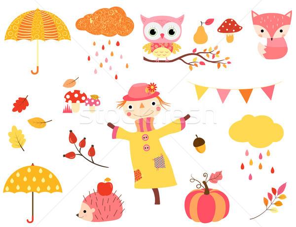 Stock foto: Cute · Herbst · Set · Farben · Tier