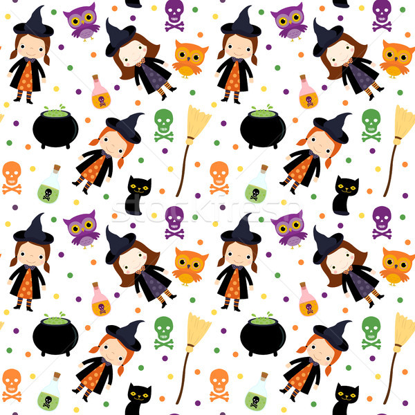 Vector seamless pattern for Halloween with girl witch character, skulls, cats and owls on white back Stock photo © Pravokrugulnik