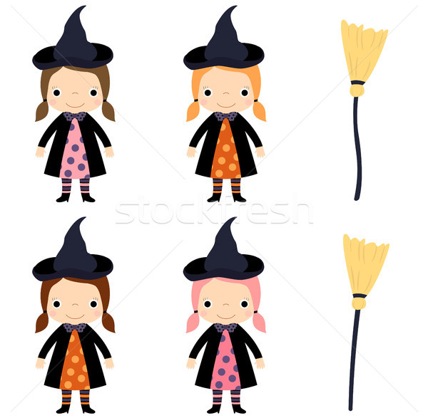 Cute vector little girl in witch costume with broom Stock photo © Pravokrugulnik