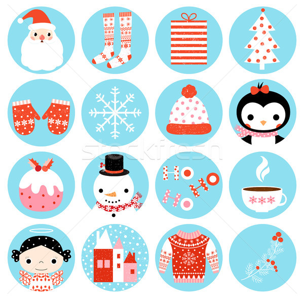 Cute vector winter round icons with Christmas symbols Stock photo © Pravokrugulnik
