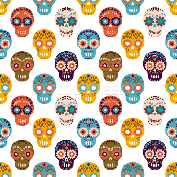 Vector seamless pattern with colorful flower sugar skulls for Halloween designs, textile and clothin Stock photo © Pravokrugulnik