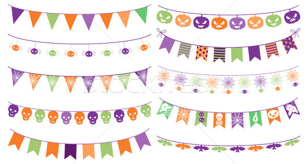 Cute vector buntings for Halloween with with skulls, spiders and bats in green, orange and purple co Stock photo © Pravokrugulnik