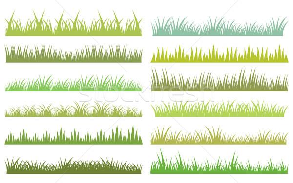 Horizontal vector green grass on white background Stock photo © Pravokrugulnik