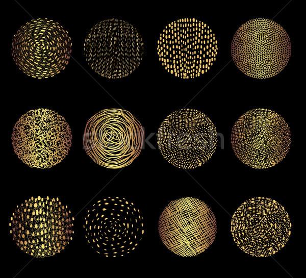 Ouro vetor rabisco círculo texturas linhas Foto stock © Pravokrugulnik