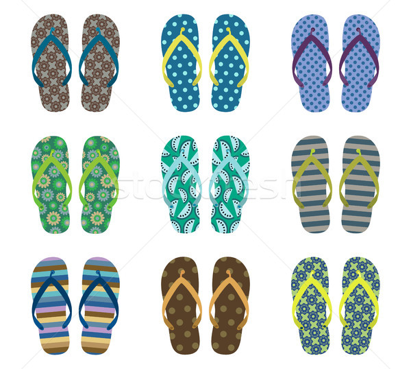 Vector set with cute summer flip flops for men for beach holiday Stock photo © Pravokrugulnik