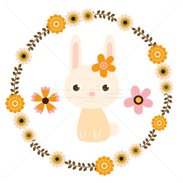 Húsvéti nyuszi virágmintás koszorú boldog háttér nyuszi Stock fotó © Pravokrugulnik