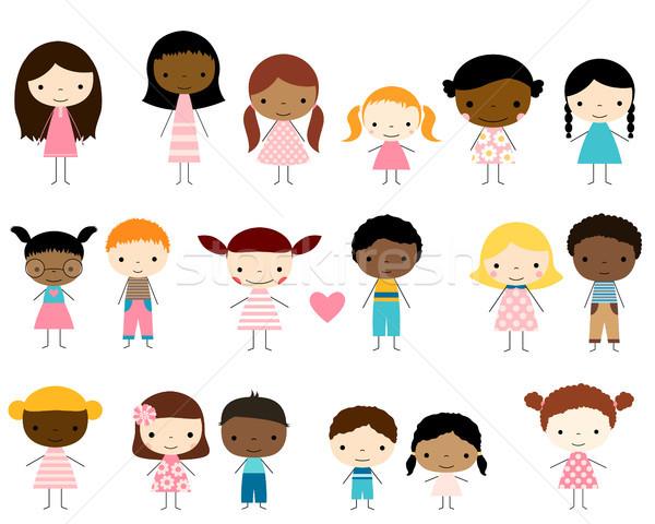 Cute groep stick kinderen jongens meisjes Stockfoto © Pravokrugulnik