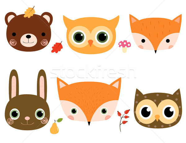 Stock photo: Cute cartoon vector set with woodland animal faces in flat style