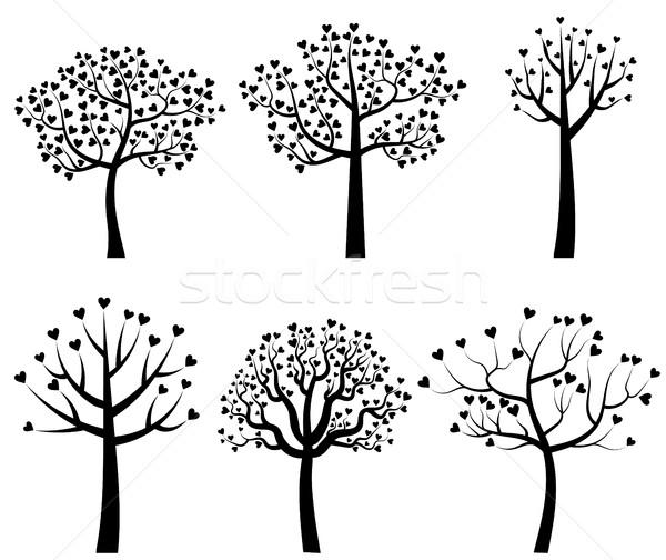 Photo stock: Noir · vecteur · arbre · silhouettes · laisse