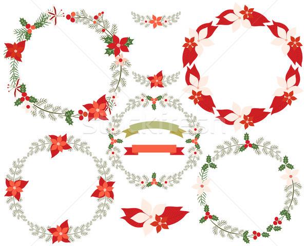 Natal coroa fronteira conjunto folhas Foto stock © Pravokrugulnik