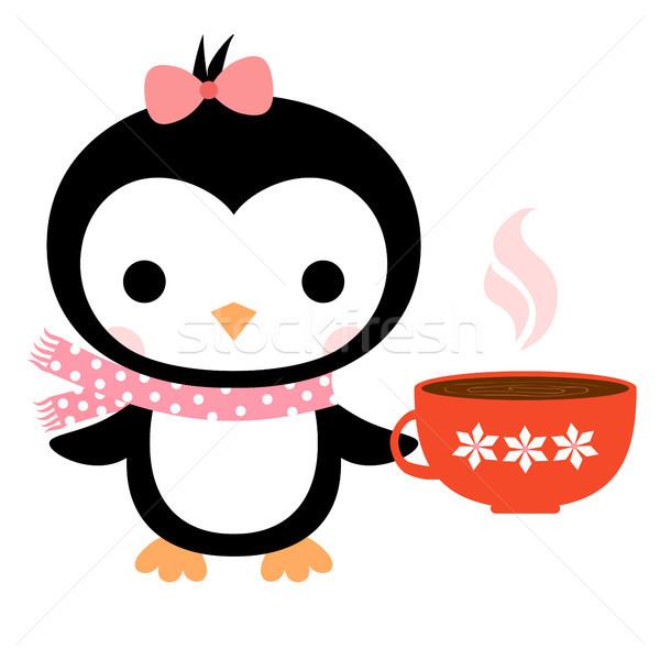 Bonitinho vetor cartão desenho animado pinguim cachecol Foto stock © Pravokrugulnik