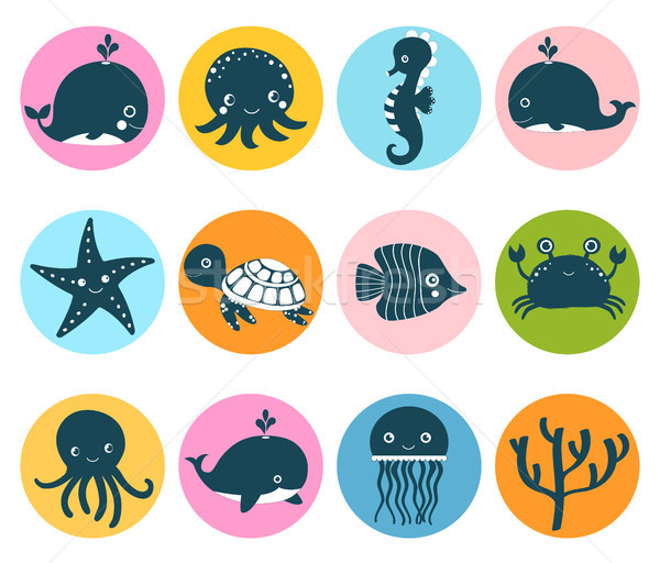 Cute vector set with sea animal icons in color circles for kids  Stock photo © Pravokrugulnik