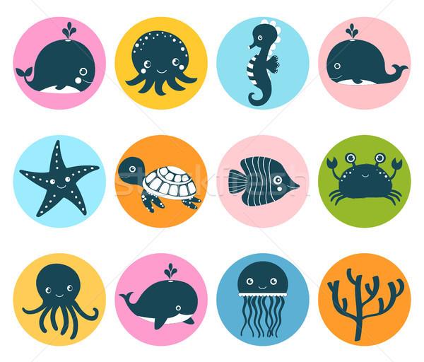 Cute wektora zestaw morza zwierząt ikona Zdjęcia stock © Pravokrugulnik