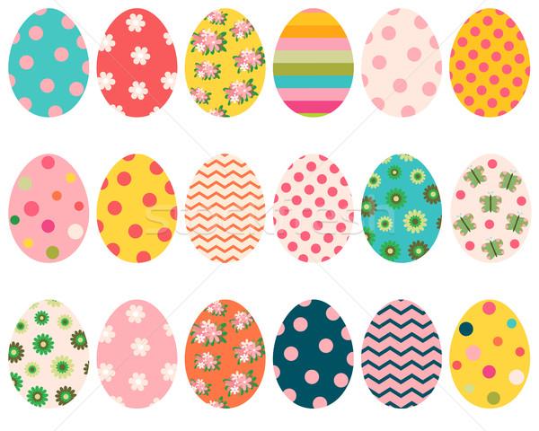 Színes húsvéti tojások virágok minták üdvözlet kártyák Stock fotó © Pravokrugulnik