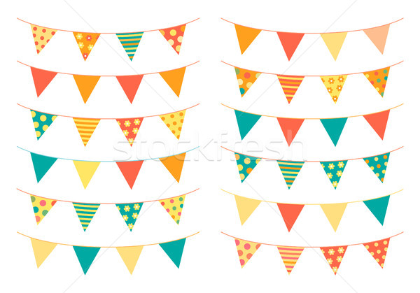 Triangle shaped bunting flags in bright colors Stock photo © Pravokrugulnik