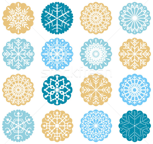 Blue and gold vector snowflake tags or stickers for Christmas Stock photo © Pravokrugulnik