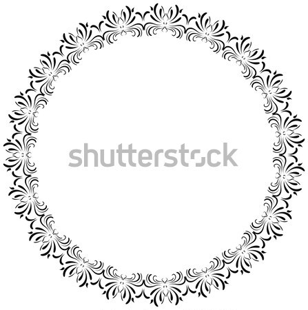 Stock photo: Round ornamental vector frame, romantic wedding border