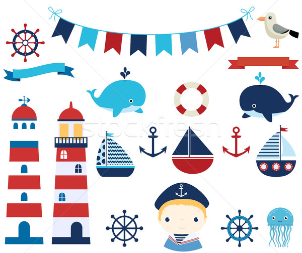 Nautical vector design elements with boats, helms and lighthouse Stock photo © Pravokrugulnik