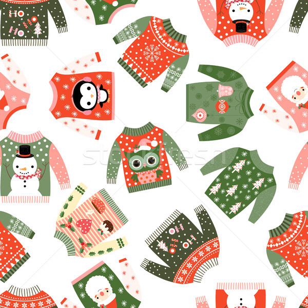 cda901bdde68  8508909 Cute vector Christmas seamless pattern with ugly fun sweaters by  Pravokrugulnik Stock photo