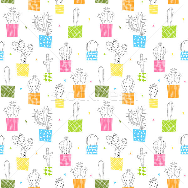Vector seamless pattern with colorful cactus plants in pots Stock photo © Pravokrugulnik