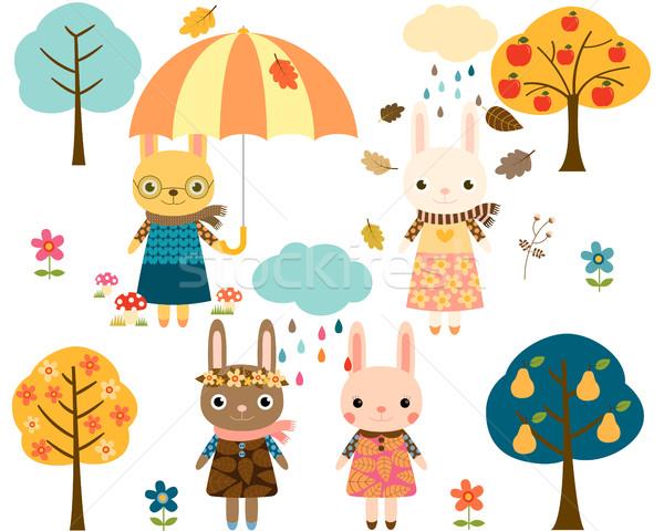 Cute vector bunnies, trees and rainy clouds Stock photo © Pravokrugulnik