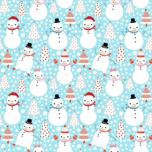 Aranyos vektor karácsony végtelen minta stílus sapkák Stock fotó © Pravokrugulnik