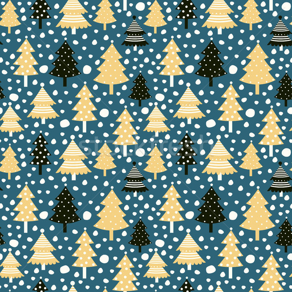 Vector seamless pattern with Christmas tree for wrapping paper Stock photo © Pravokrugulnik