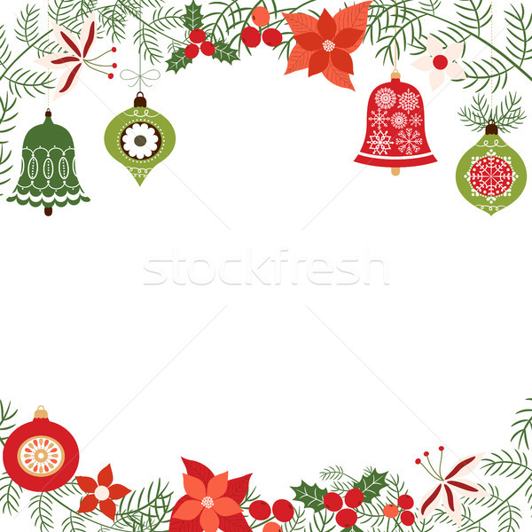 Noel tatil vektör çam süsler Stok fotoğraf © Pravokrugulnik