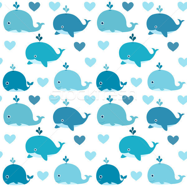 Ocean vector seamless pattern with with cute blue whales  Stock photo © Pravokrugulnik