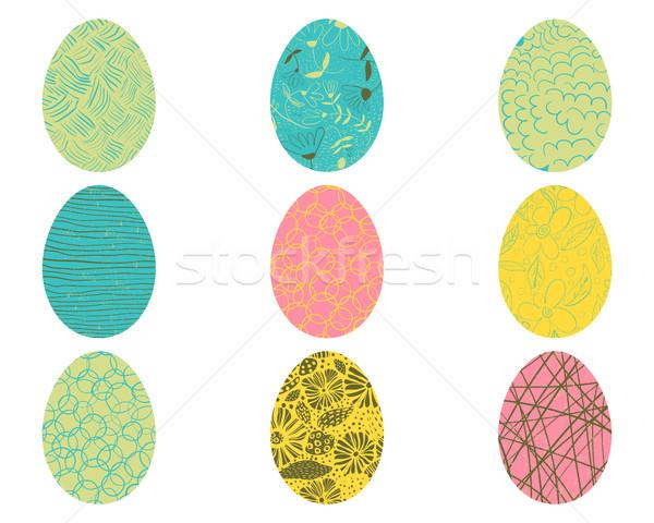 Vektor húsvéti tojások virágmintás mértani elemek húsvét Stock fotó © Pravokrugulnik