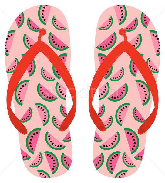 Pink and red vector flip flops with watermelon pattern  Stock photo © Pravokrugulnik