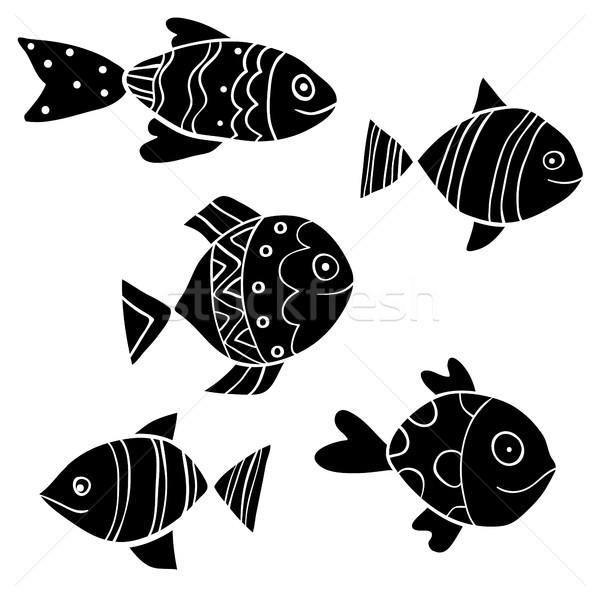 Cute black ornamental vector fish in flat cartoon style Stock photo © Pravokrugulnik