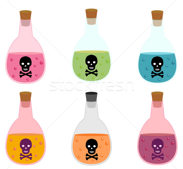 Potion bottle with poison and skull label in flat style Stock photo © Pravokrugulnik